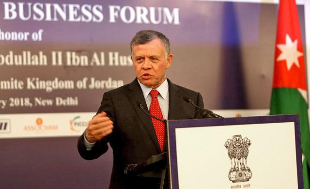 His Majesty King Abdullah addresses the Jordanian Indian Business Forum meeting in New Delhi on Wednesday