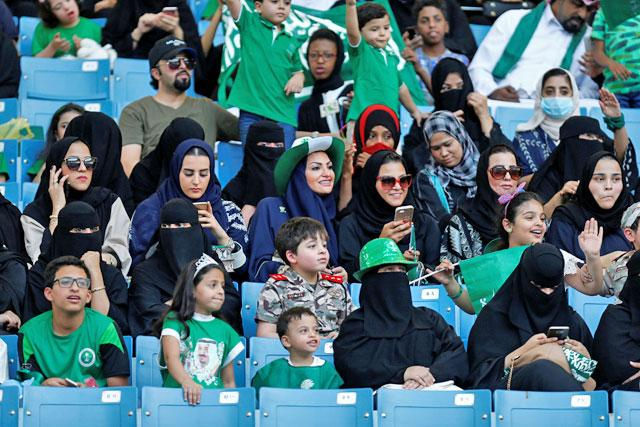 In Saudi Arabia women were first allowed to come to the stadium