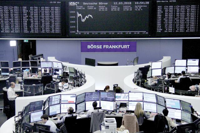 The German share price index DAX board is seen at the stock exchange in Frankfurt Germany on Monday