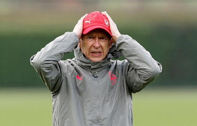 Arsenal manager Arsene Wenger during training at Arsenal Training Centre St Albans Britain on April 4