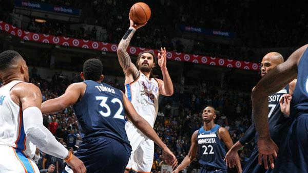 National Basketball Association capsules: Paul George, Steven Adams lift Thunder past Timberwolves, 111-107